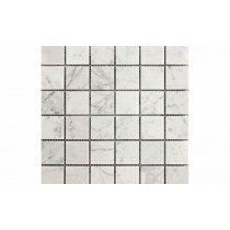 Crystal White Square Mosaic Honed