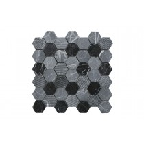 Nero-Grey Marquina Marble Hexagon Mosaic