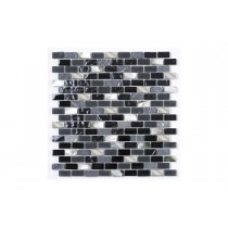 Nero Marquina Mother of Pearl Glass Mix Mosaic
